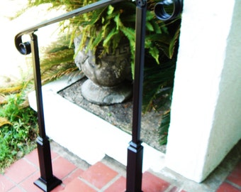 6 FT Wrought Iron Handrail Step rail Stair rail with Decorative Posts Made in the USA