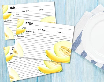 Printable recipe cards Recipes Template Illustrated templett Instant Download Cooking paper note Kitchen Stationary set