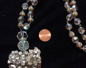 Vintage 1950s Rhinestone Rondells and Crystal Necklace Disco Ball Starburst Unique Piece