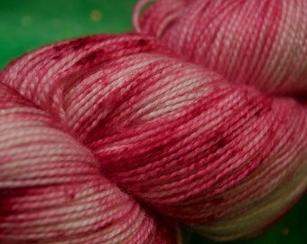 Hand Dyed Sock Yarn - Peppermint Speckles - Sparkly Hand-dyed Superwash Merino/Nylon/Stellina yarn - 2 ply