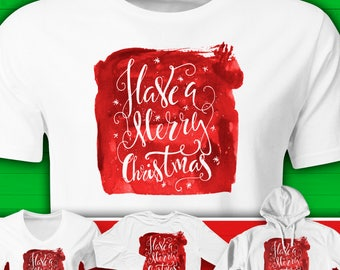 MERRY CHRISTMAS Red Watercolor Holiday Tee. Men's Women's Youth. Short or Long Sleeve, Hoodie. Graphic Tee.  Christmas Gift.  #HOL13RB