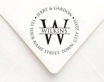 Personalized Monogram Round Address Stamp, Circle Address Stamp, Custom Rubber Stamp, Wedding Address Stamp, Custom Stamp Stationary Gift