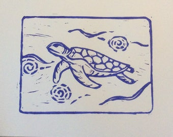 Totally turtle is an original hand carved, hand pulled linocut print.