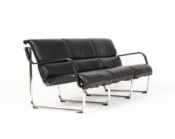 Danish Modern / Mid Century Vintage Sling Sofa — Chrome Frame — Black leather