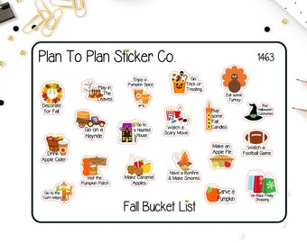 1463-S~~ Fall Bucket List Planner Stickers.