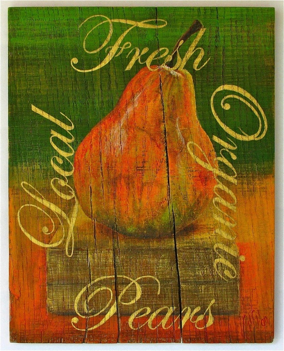 Pears original acrylic painting on reclaimed rustic solid wood board