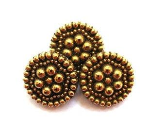 3 Vintage glass buttons flower design bronze color 23mm