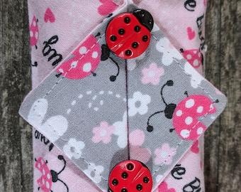 Kleenex Cover, Travel Tissue Holder, Pocket Tissue Cover, Ladybugs, Love Bug