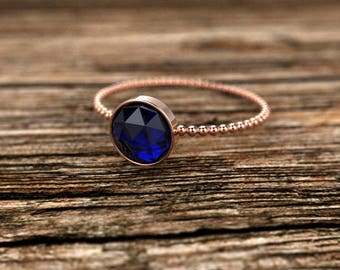 Rose Gold Rose Cut Sapphire Engagement Ring Rose Gold Sapphire Ring Sapphire Engagement Ring Sapphire Ring September Birthstone Ring