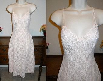 Vintage Ultra Femme Arianne Pink Nightgown ~ Petal Pink Stretch lace ~ Romantic ~ Pretty Girl ~ Lolita ~ Feminine Nightgown