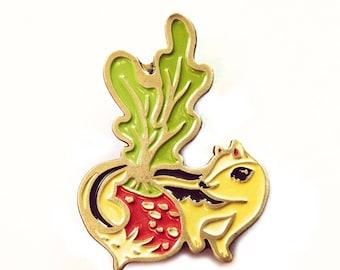 Vegan pins - CHIPMUNK / RADISH enamel pin radish pin - urban farmhouse, vegan lapel pin, farm jewelry, plant enamel pin, kawaii