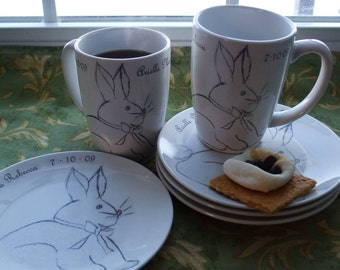 Spring, Bunny, Rabbit, Baby Gift, Dishe New Baby, Baby Shower, Personalized Mugs and Dessert Plate Set for 2