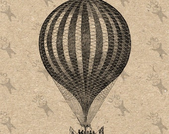 Vintage image Balloon Aerostat Instant Download picture Digital printable clipart graphic iron on, burlap, prints, t-shirt etc HQ 300dpi