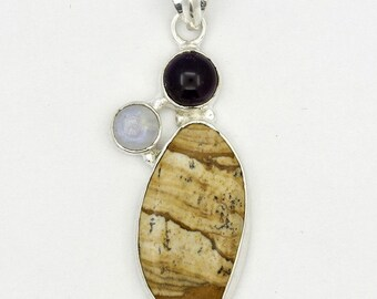 Marvelous! New Picture Jasper,Amethyst,Moonstone 925 Sterling Silver Pendant A0675