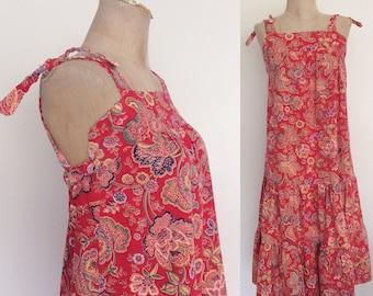 1970's Floral Print Cotton Sun Dress Size XXS XS hy Maeberry Vintage