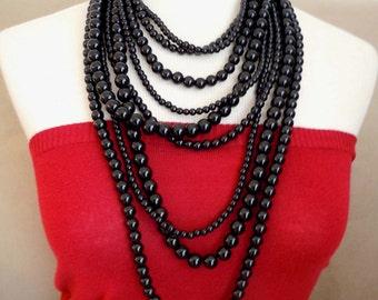 Coco Sophia Noir -- Mystic Black Pearl multi-strand necklace