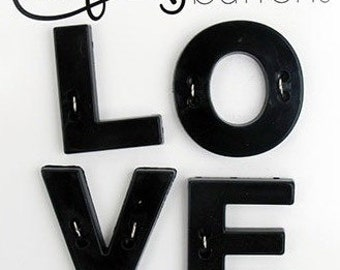 Clearance BUTTONS EXTRA LARGE Love letters set of 4 for Valentines Day