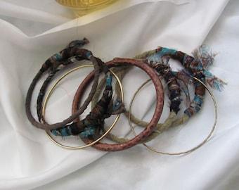 Stacking Bangle Bracelets Textile Leather Set of 7 Brown Green Gold (#02)