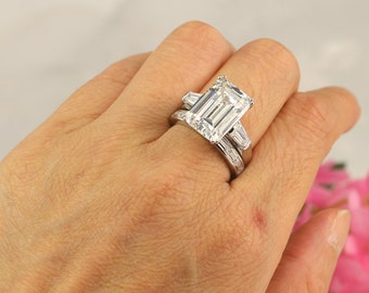 Wedding Ring Set, Emerald Cut Ring, Huge Engagement Ring, 3 Stone Ring, 8 Carat promise ring, Emerald Cut CZ, Diamond Stimulant