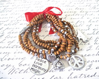 """Layered charm bracelets """" Chic peace lover """""""