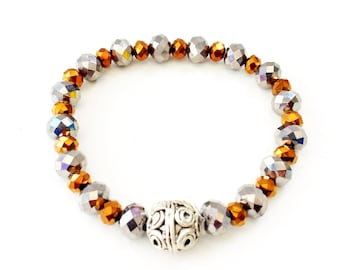 Czech crystals, silver details, stretch bracelet