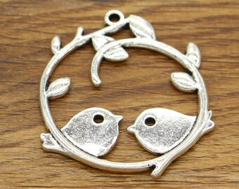 5pcs Sparrow Bird Charms Pendants Two Sparrows Antique Silver Tone 37x43mm cf2085