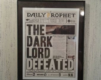 Harry Potter Daily Prophet Front Page Headline Voldemort Dark Lord Defeated PRINT Hogwarts Newspaper