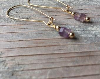 Amethyst Earrings, Birthstone Earrings, Purple Earring Gift for Her, Gemstone Dangle Earrings, Birthstone Jewelry, Long Drop Earrings, Boho