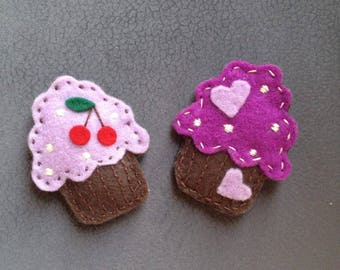 CUPCAKE FELT BROOCHES, Muffin Pin, Sweeet Brooches, Felt Plush Cupcake, Cookie Brooch, Felt Accessories, Gift for Her, Handmade Brooch