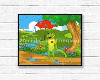 Iguana, Rain, Umbrella, Children's Book Art, Wall Art, Nursery Room Art, instant download, digital print, digital art, 8x10