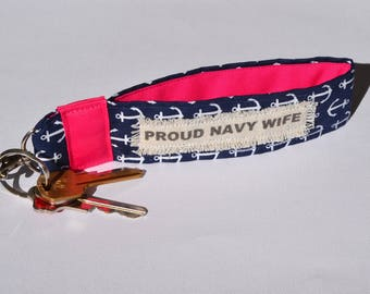 Navy Wife Fabric key chain in Navy and Pink anchor fabric, Navy wife military key fob, Anchor fabric key chain, Military wrist key fob