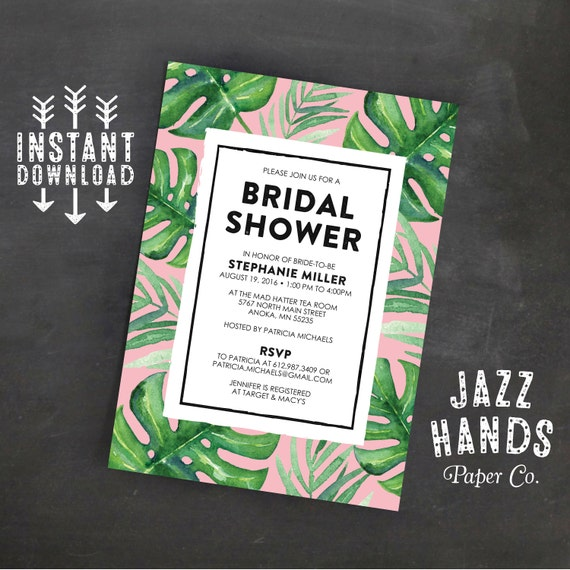 Tropical leaf printable bridal shower invitation template tropical leaf printable bridal shower invitation template tropical party pink wedding shower invitation split leaf palms filmwisefo Choice Image