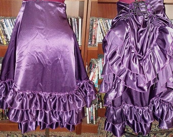 Large Satin Short Victorian Tie Bustle Skirt - Ready to Ship!