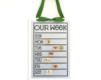 Weekly Schedule Chart - 13x9 Magnet Board - Personalized Chore Board - Magnetic Chore Chart  - With Optional Magnets
