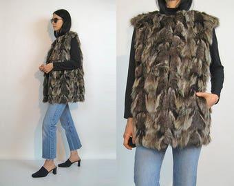70s Chevron FUR Vest / Vintage 1970s Genuine Fur Vest / Chevron Striped Fur Vest / Fur Waistcoat / 70s Fur Gilet