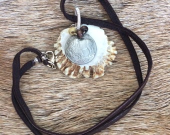 Buffalo Nickle Antler Rosette necklace