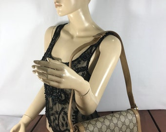 GUCCI Rare Flap GG LogoHard to Find 70s Vintage Authentic Tan Canvas and Leather Trim Shoulder Bag Made in Italy