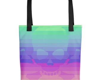 Psychedelic Skull Rainbow Optical Illusion Tote bag