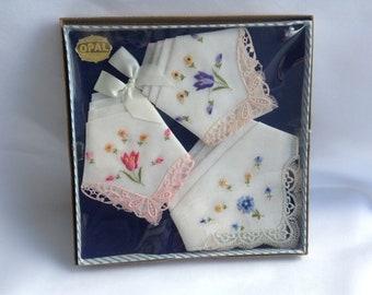 Vintage Lace Hankies, Vintage Boxed Hankies, Iris Opal Handkercheifs, Gift for Her, Lace Handkercheifs
