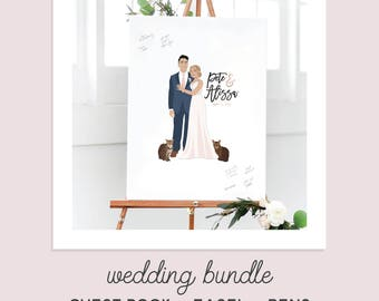 Wedding Bundle - Wedding Guest Book Alternative Canvas with Easel + 3 pens - Wedding Package with Guest Book Alternative Guest Sign In Set