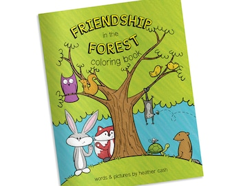 Woodland Coloring Book - Friendship in the Forest - Party Favor - Wedding Kids Activity