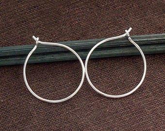 4 pairs of 925 Sterling Silver Circle Hoop Earrings 20mm. :tk0182