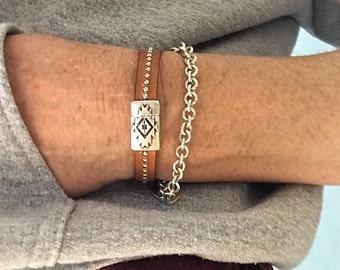 Leather Cuff Bracelet - Leather Bracelet Woman - Silver Stud Bracelet - Leather Metal Cuff - Leather Gift Ideas - Stud Leather Cuff