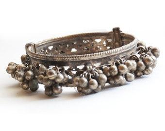 Vintage Hinged Cuff Bracelet, Afghan Tribal Bells, Belly Dance, Festival, Boho Jewelry