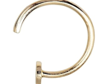 14K Gold Hoop Style Nail Nose Ring