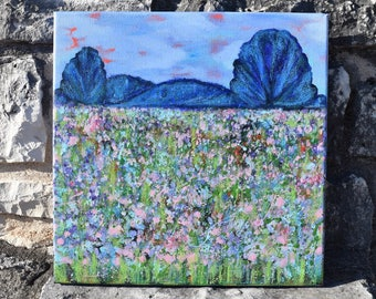 "Original Abstract Acrylic & Mixed Media Painting - ""Landscape #5"" - 12''x12''"