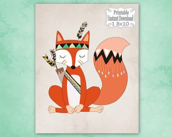 Printable Tribal Woodland Fox Nursery Wall Art Decor Baby Child Kids ~ DIY Instant Download ~ 1 8x10 Print