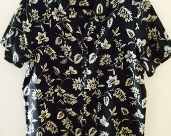 XL, 80s BLACK, Light Grey, and Beige FLORAL Silk Short Sleeved Vintage Blouse, by Anna & Frank