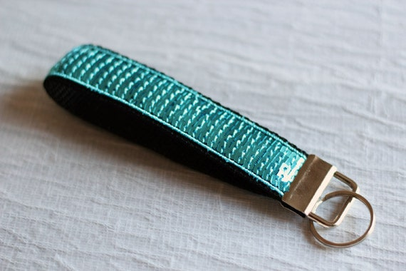 Keychain wristlet - Paillettes - Turquoise