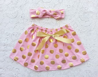 Pink and Gold polka dot skirt and headband set Baby, toddler, Girls. 1-4 years